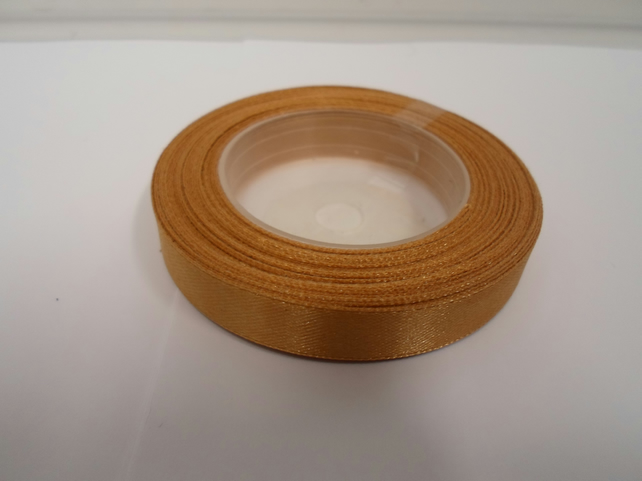 1 roll of 12mm Caramel satin ribbon minimum 13 metres, wedding favours,