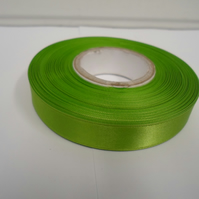 1 roll of 15mm x 25 metres, Leaf, bright green, satin ribbon, double sided