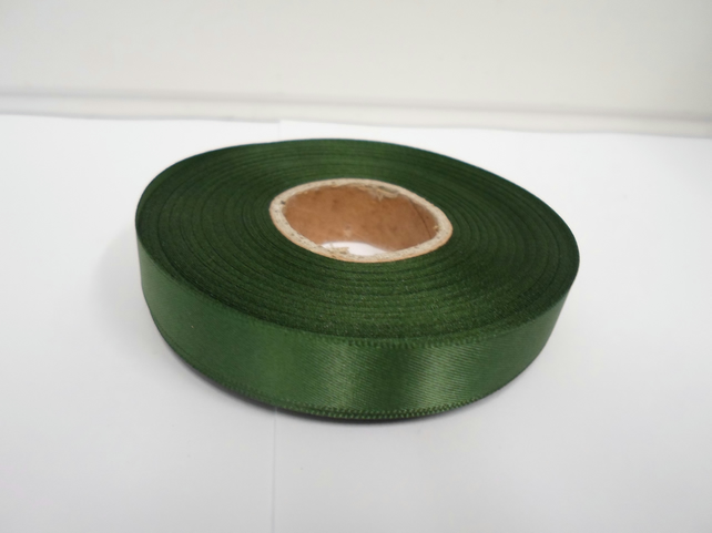 1 roll of 15mm x 25 metres, Olive, dark green, satin ribbon, double sided