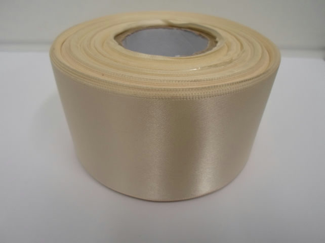 1 roll of 50mm cream satin ribbon, 25 metres, double sided, wedding
