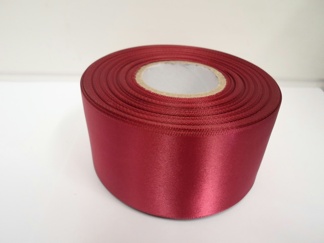 1 roll of 50mm burgundy, wine satin ribbon, 25 metres, double sided