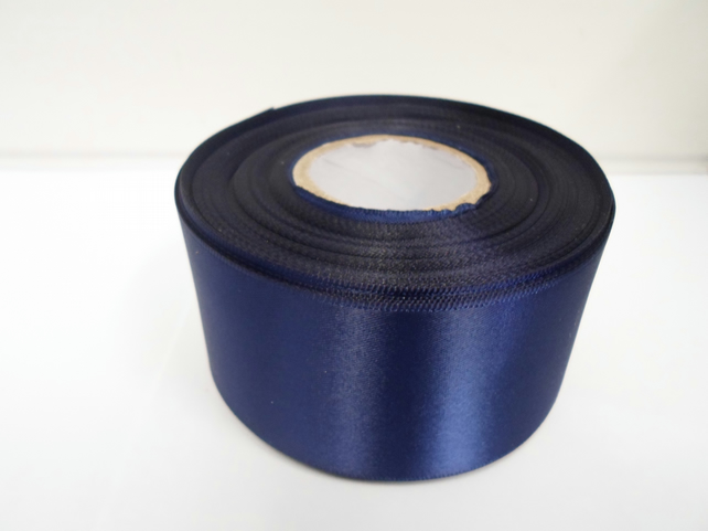 1 roll of 50mm navy, dark blue satin ribbon, 25 metres, double sided