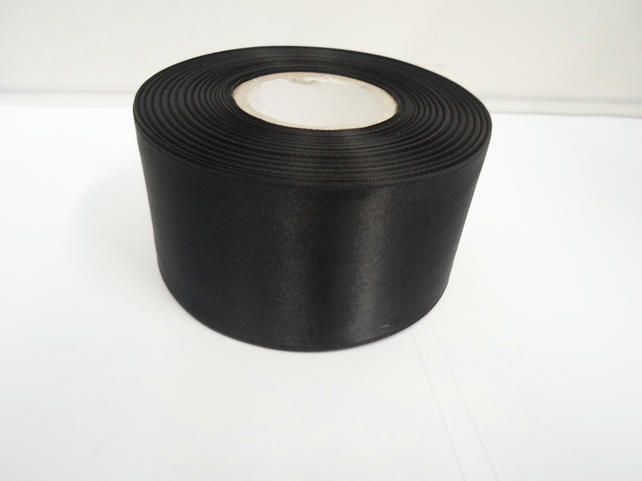1 roll of 50mm black satin ribbon, 25 metres, double sided