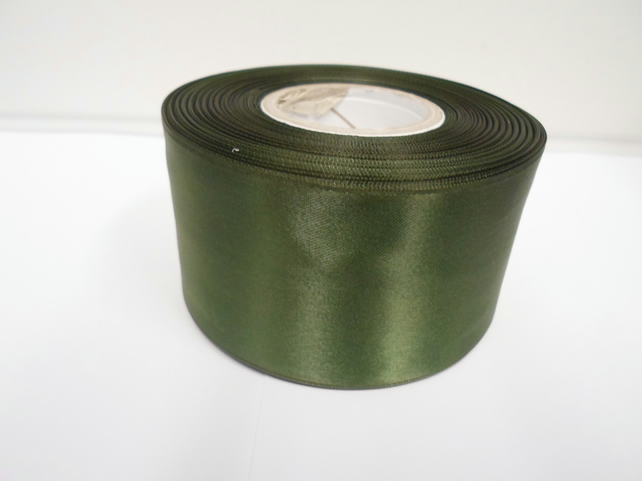 1 roll of 50mm olive, dark green satin ribbon, 25 metres, double sided