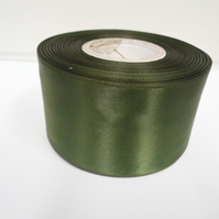 2 metres of 50mm olive, dark green satin ribbon, double sided