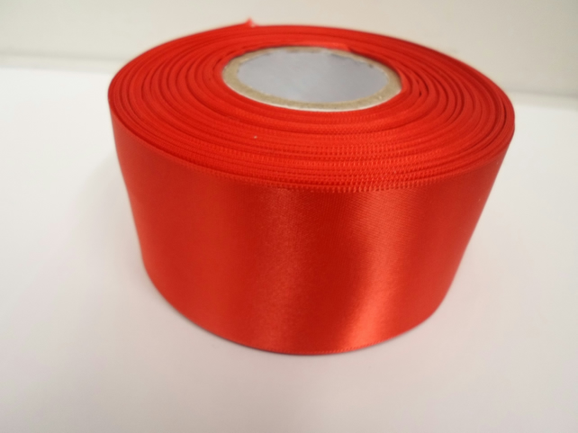 1 roll of 50mm scarlet, bright red satin ribbon, 25 metres, double sided