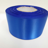 1 roll of 50mm royal, cobalt blue satin ribbon, 25 metres, double sided
