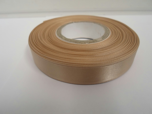 1 roll of 15mm x 25 metres, coffee latte, light brown satin ribbon, double sided