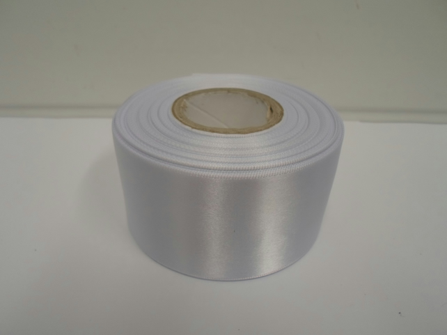 1 roll of 50mm white satin ribbon, 25 metres, double sided