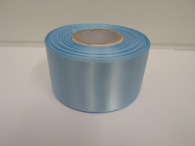 1 roll of 50mm light baby blue satin ribbon, 25 metres, double sided