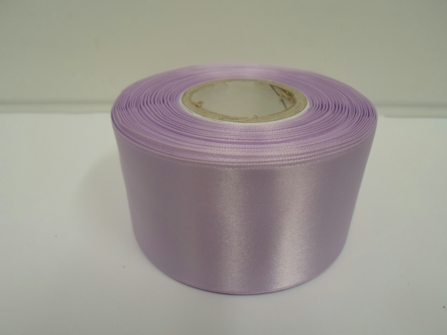 2 metres of 50mm Lilac, light purple satin ribbon, double sided