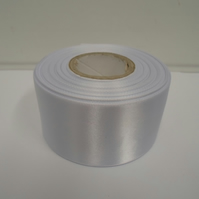 2 metres of 50mm White satin ribbon, double sided