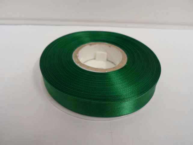 2 metres of 15mm Emerald, dark green satin ribbon, double sided