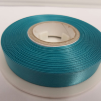 2 metres of 15mm Dark Turquoise Blue satin ribbon, double sided