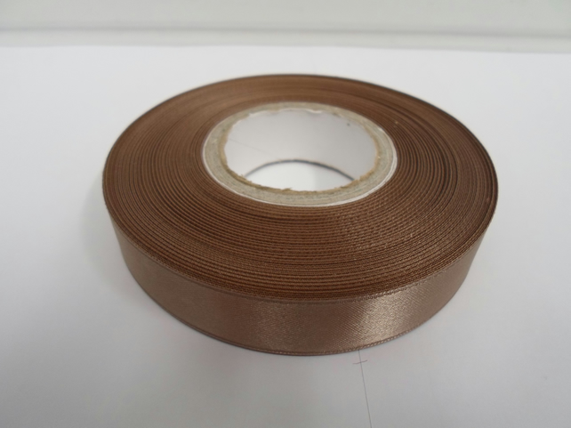 2 metres of 15mm Light Gold satin ribbon, double sided