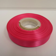 2 metres of 15mm Hot bright pink satin ribbon, double sided