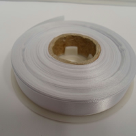 2 metres of 15mm White satin ribbon, double sided