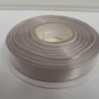 2 metres of 15mm Silver satin ribbon, double sided