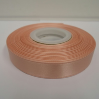 2 metres of 15mm Peach satin ribbon, double sided