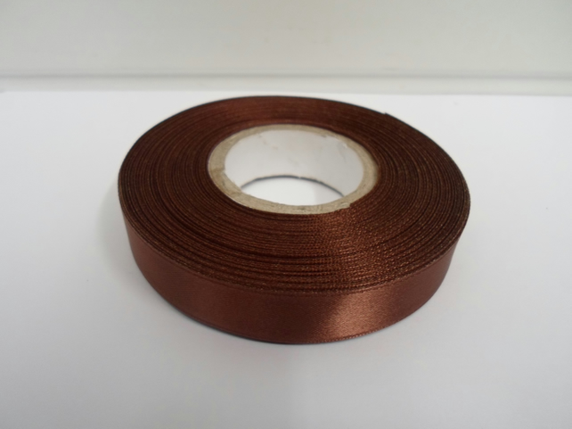 2 metres of 15mm Chestnut, dark brown satin ribbon, double sided