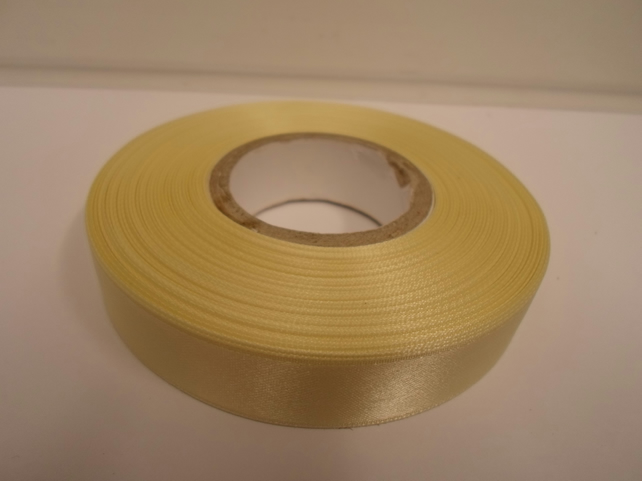 2 metres of 15mm Lemon, light yellow satin ribbon, double sided