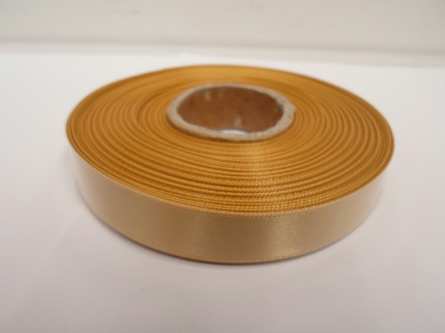 1 roll of 15mm x 25 metres, yellow gold satin ribbon, double sided