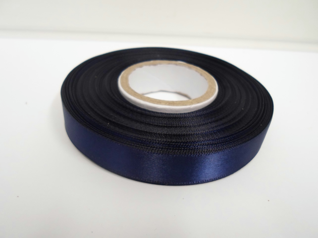 2 metres of 15mm Navy, dark blue satin ribbon, double sided
