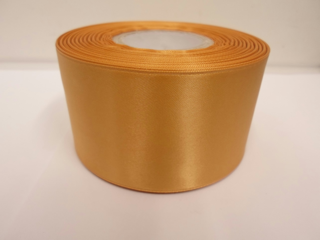 1 roll of 50mm yellow gold satin ribbon, 25 metres, double sided