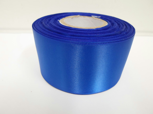 2 metres of 50mm royal , cobalt blue satin ribbon, double sided