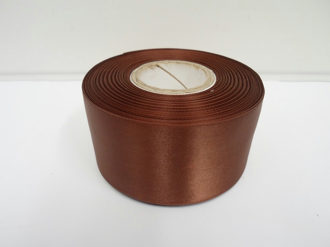 2 metres of 50mm Chestnut, dark brown satin ribbon, double sided