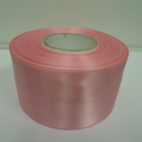 2 metres of 50mm Baby pink, light pink satin ribbon, double sided