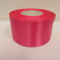 2 metres of 50mm Hot, bright pink satin ribbon, double sided