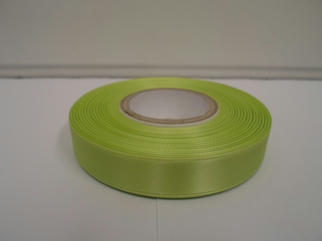 2 metres of 15mm Apple, light green satin ribbon, double sided