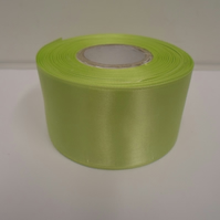 2 metres of 50mm Apple, light green satin ribbon, double sided