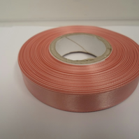 2 metres of 15mm  dusky pink satin ribbon, double sided