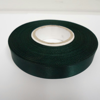 2 metres of 15mm Forest, dark green satin ribbon, double sided