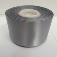 2 metres of 50mm Gun Metal Grey, Dark SIlver satin ribbon, double sided