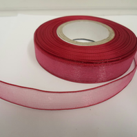 2 metres of 15mm dusky pink sheer organza ribbon, double sided