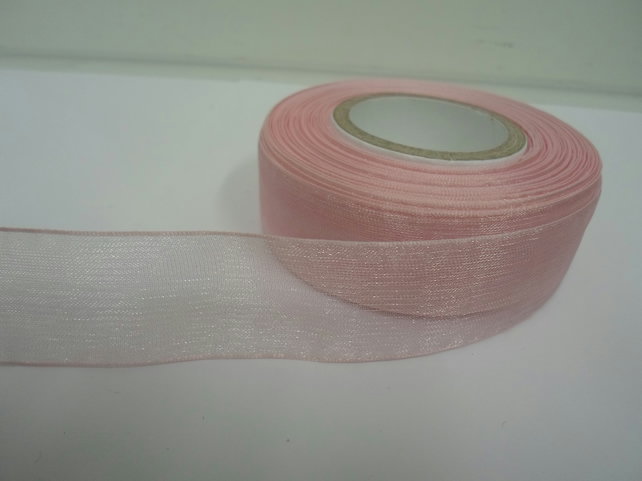 1 roll of 25mm Baby Light Pink Sheer Organza ribbon, 25 metres, double sided