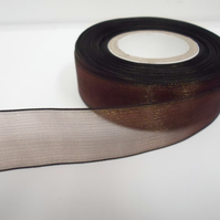 1 roll of 25mm Chestnut, dark brown Sheer Organza ribbon, 25 metres double sided