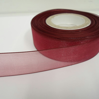 1 roll of 25mm Burgundy Sheer Organza ribbon, 25 metres, double sided