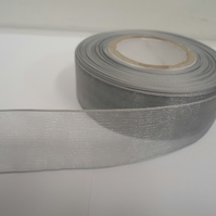 1 roll of 25mm Silver Sheer Organza ribbon, 25 metres, double sided