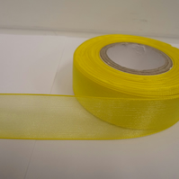 1 roll of 25mm Canary bright yellow Sheer Organza ribbon, 25 metres double sided