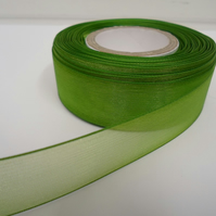 2 metres of 25mm Leaf, bright green Sheer Organza ribbon,  double sided
