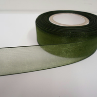 2 metres of 25mm Olive, Dark Green Sheer Organza ribbon,  double sided