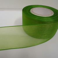 1 roll of 40mm Leaf, Bright Green Sheer Organza ribbon, 25 metres, double sided