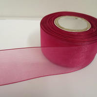1 roll of 40mm Magenta, Dark Pink Sheer Organza ribbon, 25 metres, double sided
