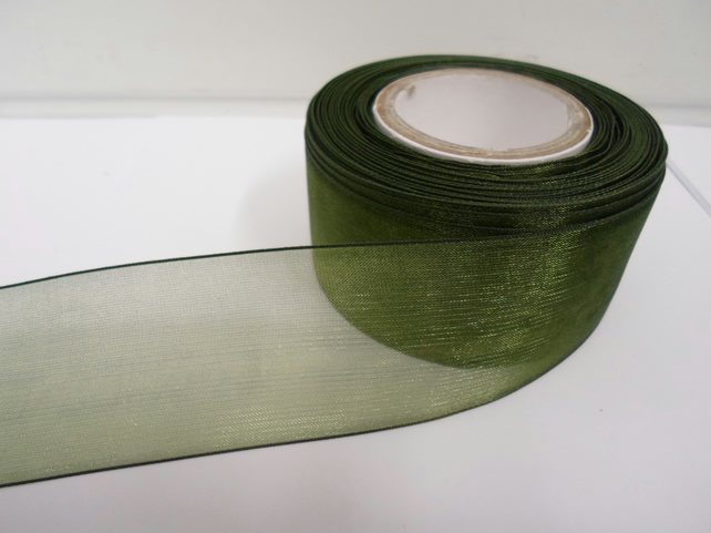 1 roll of 40mm Olive, Dark Green Sheer Organza ribbon, 25 metres, double sided