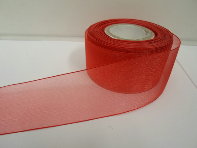 1 roll of 40mm Red Sheer Organza ribbon, 25 metres, double sided