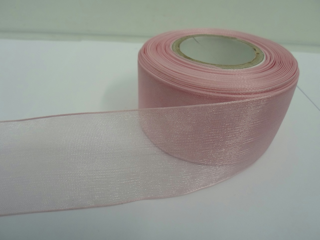 1 roll of 40mm Light Baby Pink Sheer Organza ribbon, 25 metres, double sided